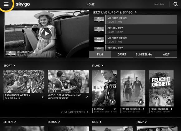 Menüsymbol – iPad (Sky Go)
